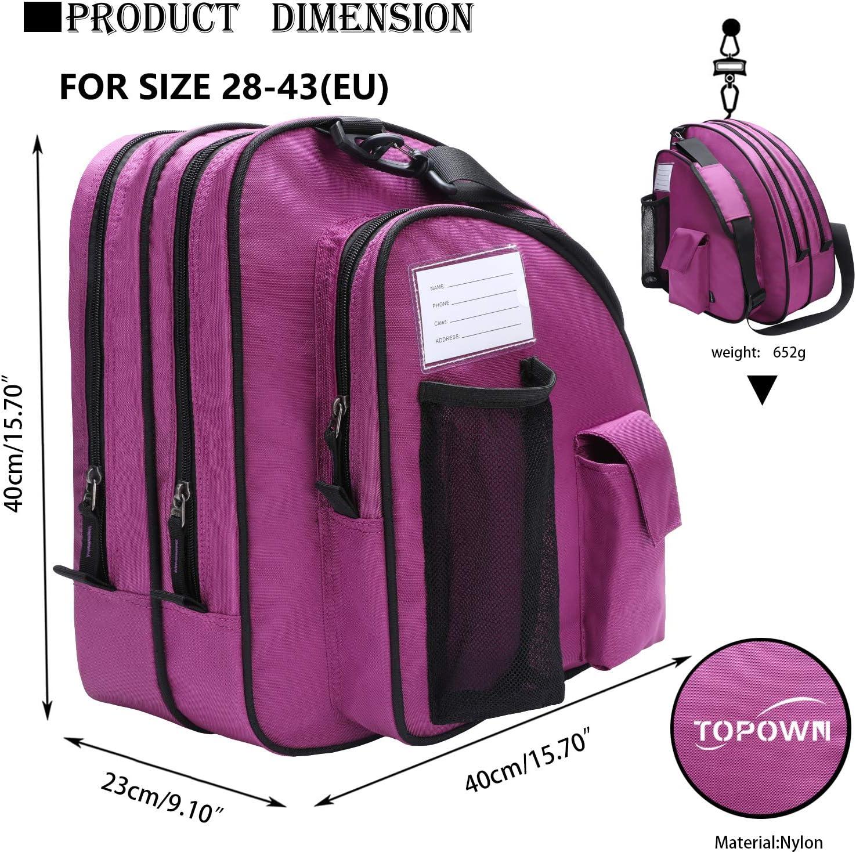 TOPOWN Inline und Schlittschuhtasche f/ür Jungen und M/ädchen Herren Inline-Skate-Tasche Damen Rollschuhtasche Premium schwarz Schlittschuhtasche Rose Rot Pink Inlineskate Bag