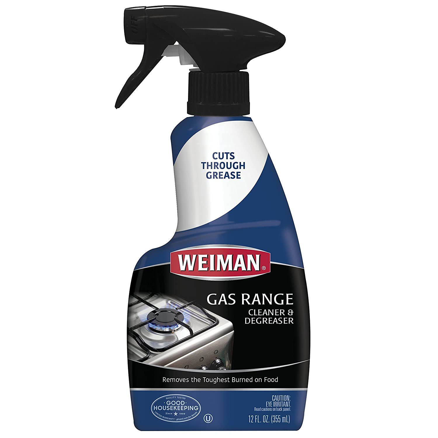 Weiman Gas Range Cleaner & Degreaser - Penetrate and Loosen Tough Grease and Burned-On Food - 12 Oz.