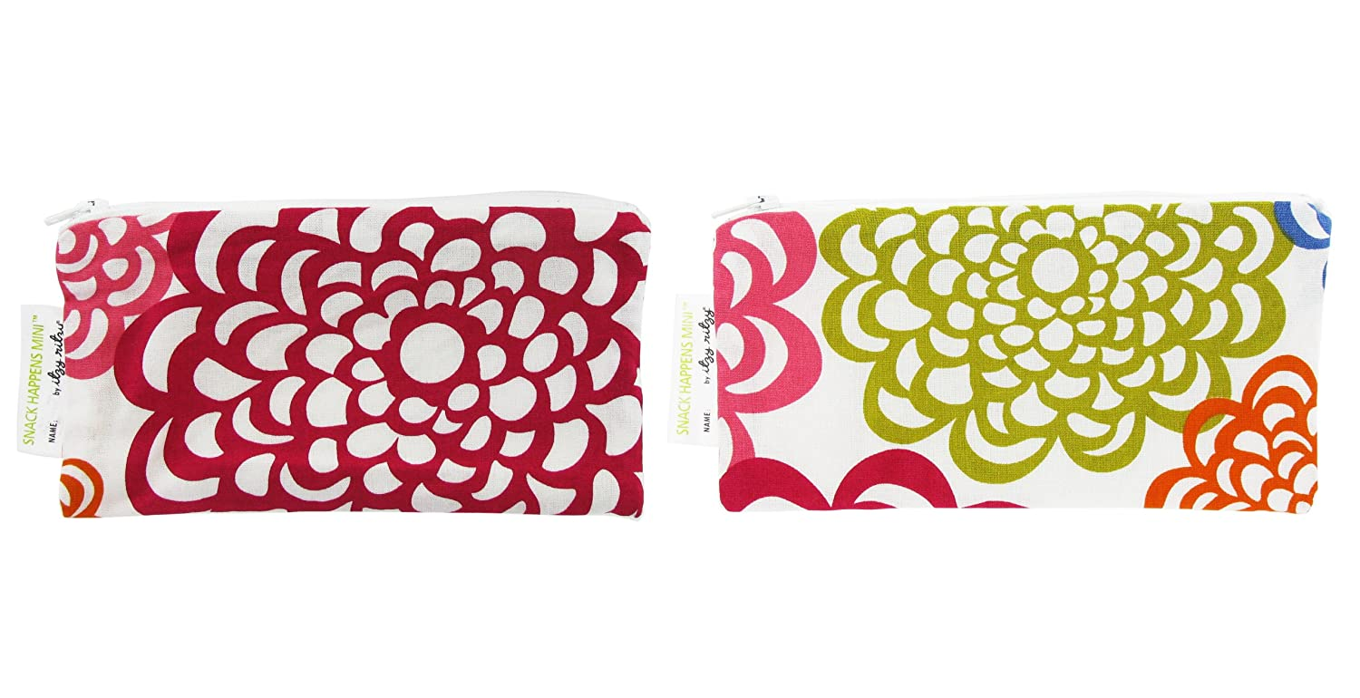 "Itzy Ritzy Reusable Mini Snack Bags – 2-Pack of 3.5"" x 7"" BPA-Free Snack Bags are Food Safe & Washable for Storing Snacks, Pacifiers and Makeup in a Diaper Bag, Purse or Travel Bag, Fresh Bloom"