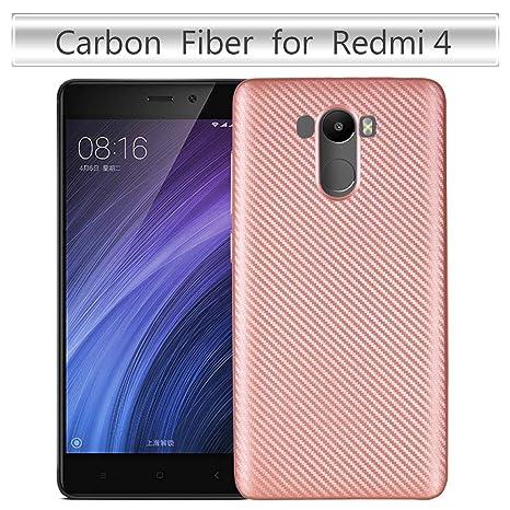 pinlu® Funda para Xiaomi Redmi 4 Silicona TPU Super-Ligero Carcasa Espalda Anti-Rasguño Shock-Absorción Diseño de Fibra de Carbono Soft Cubierta Rose ...