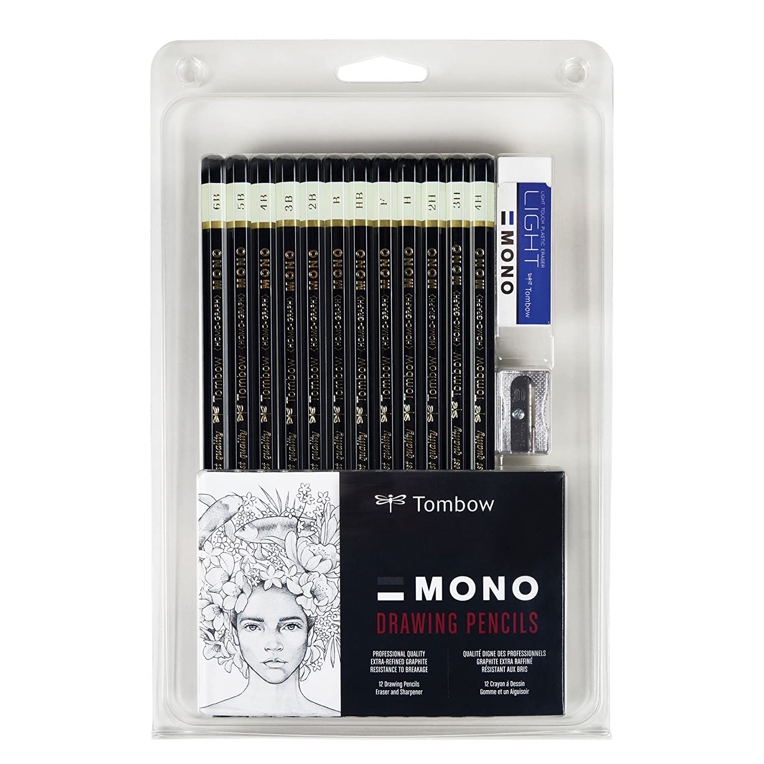 Tombow 51523 MONO Drawing Pencil Set, Assorted Degrees, 12-Pack. Professional Quality Graphite Pencil Set with Eraser and Sharpener AMERICAN TOMBOW INC