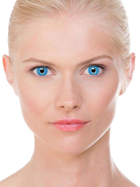 Farbige blaue Kontaktlinsen \'Intense Sapphire\' +Behälter für ...