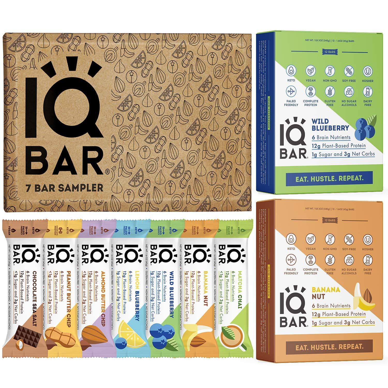 IQBAR Protein Bar Bundle (31 Protein Bars) - Dairy Free, Gluten Free, Keto Snacks - (12) Wild Blueberry + (12) Banana Nut + (7) Keto Bars Sampler - Vegan Low Carb Snacks