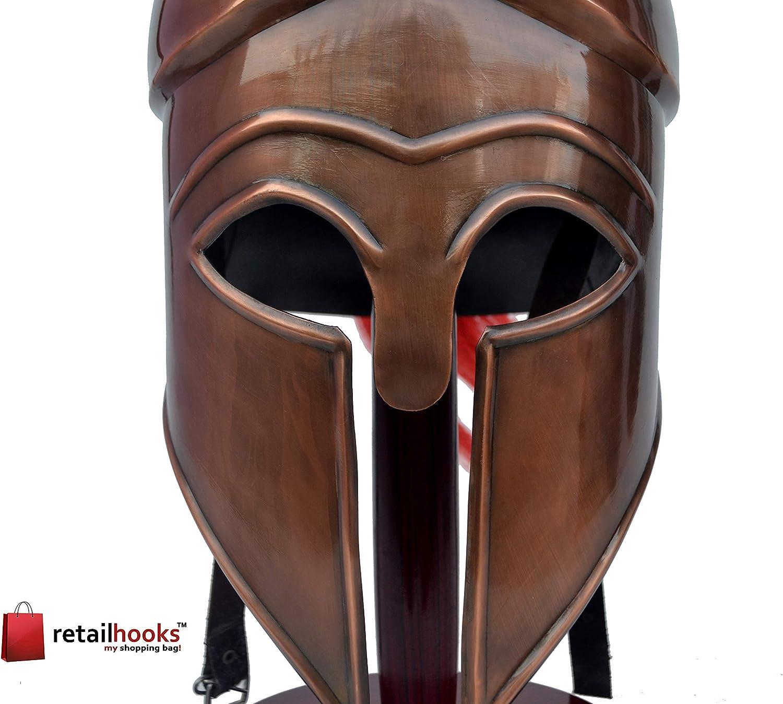 Bronze Medieval Greek Corinthian Helmet Red Plume Armor Knight Spartan Helmet with Free Brass Telescope Or Spyglass Handheld Telescope W//Wooden Box