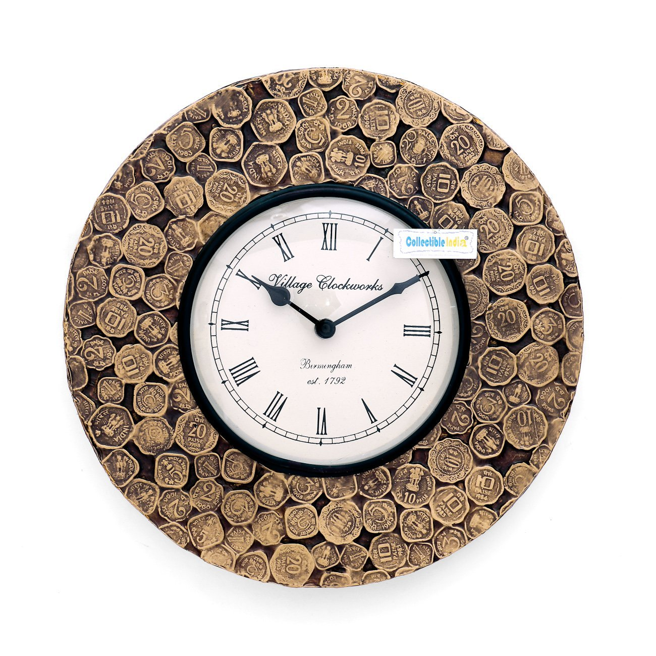 Buy collectible india antique coins studded unique decorative buy collectible india antique coins studded unique decorative wooden analog wall clock 3048 cm x 4 cm x 3048 cm gold online at low prices in india amipublicfo Gallery