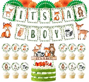 Woodland Baby Shower Decorations, Woodland Party Supplies Kit, Woodland Baby Shower Banner, Forest Animals Centerpiece, Woodland Animals Cup Cake Toppers