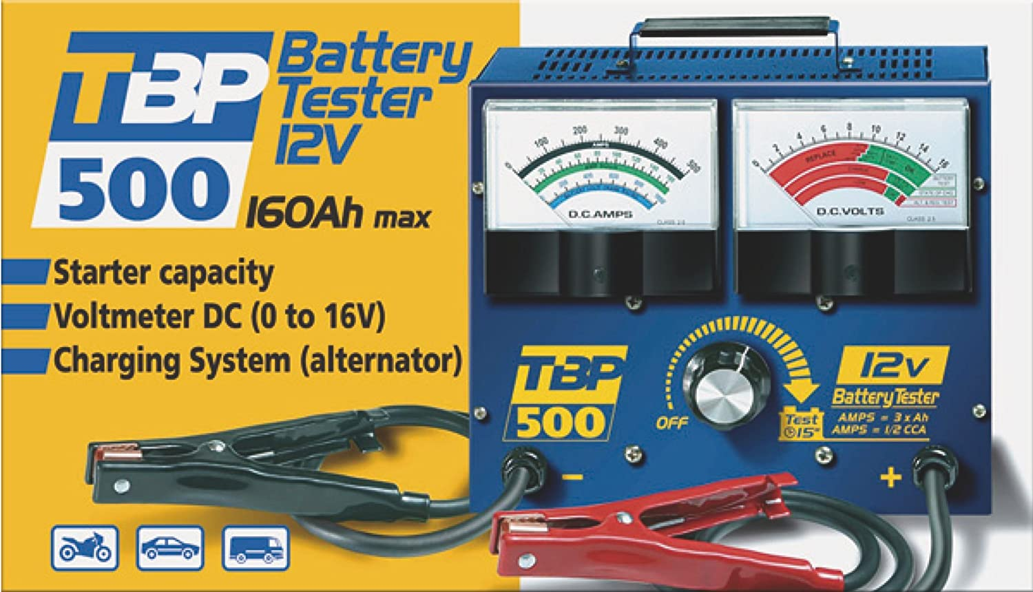 Gys Tbp 500 Car Battery Tester For 12v Lead Acid Batteries Max Silverline Non Contact Ac Voltage Detector 140mm Electrical Diy Tool 160ah Motorbike