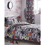 Kidz Club Lit simple Housse de couette et taie d'oreiller Parure de lit Pour adolescents Skateboards et graffitis–Gris