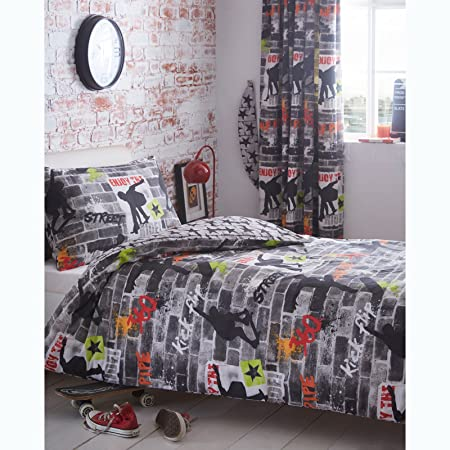 cool single beds for teens. Kidz Club Teenagers Single Bed Duvet Cover And Pillowcase Bedding Set Cool Skateboards Graffiti Beds For Teens