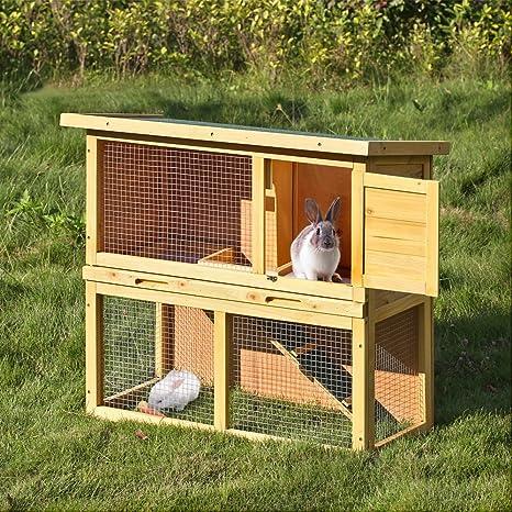 iKayaa AB2005 - Jaula doble de madera de abeto para conejos gallinas patos cuyes hurón u