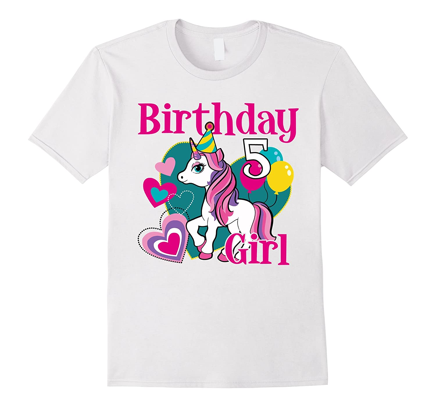 5th Birthday Girl Of Unicorn T Shirt 5 Years Old PL