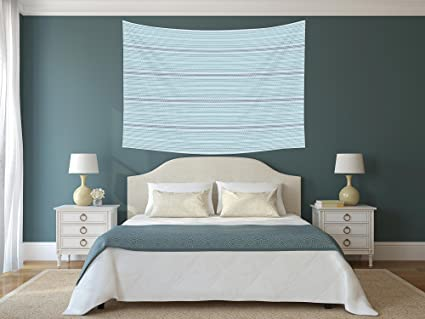 Amazon.com: Polyester Tapestry Wall Hanging,Blue,Sea Waves Theme Zig ...