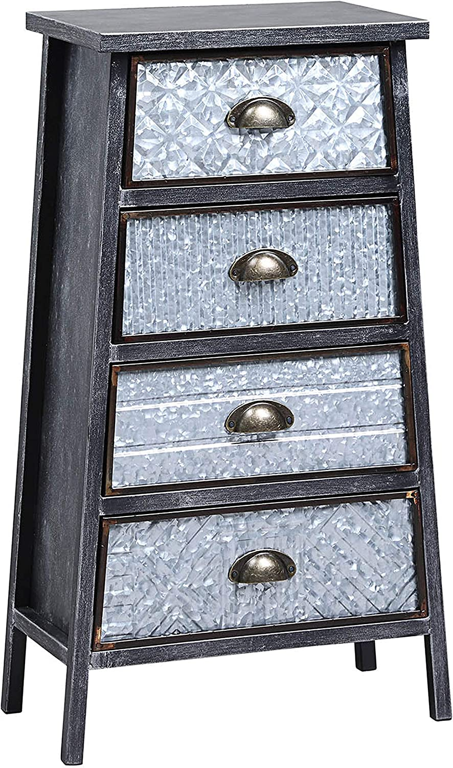 4D Concepts Armata Collection DRAWER CHEST, Multi textured metal Gray and Galvanized