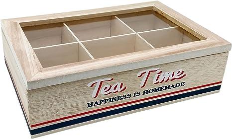 Caja para t/é 6 compartimentos, madera MDF The A