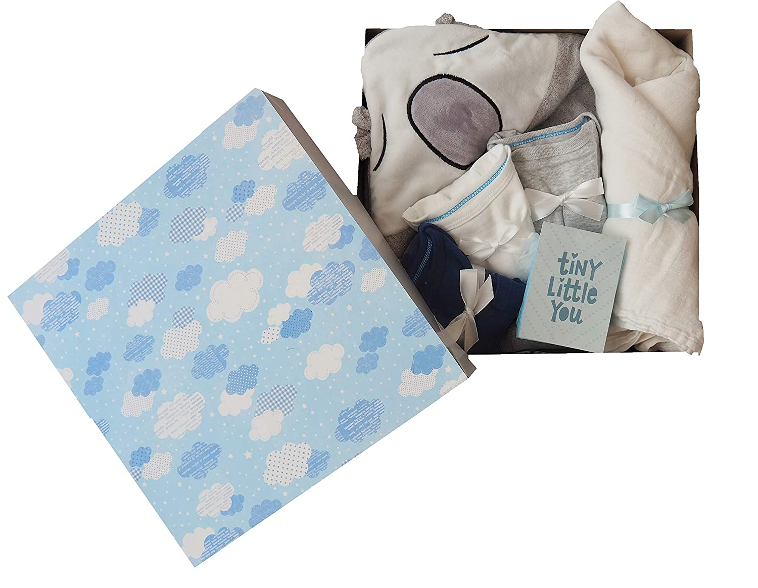 Baby Boy Shower Gift Set, Newborn Essentials Gift Basket - Organic Bamboo Baby Hooded Towel, Organic Bamboo Swaddle, Newborn Onesies, and a Card, 5 Pieces, Free Delivery, from ZozO (Blue-White) 81Kusad2LbL