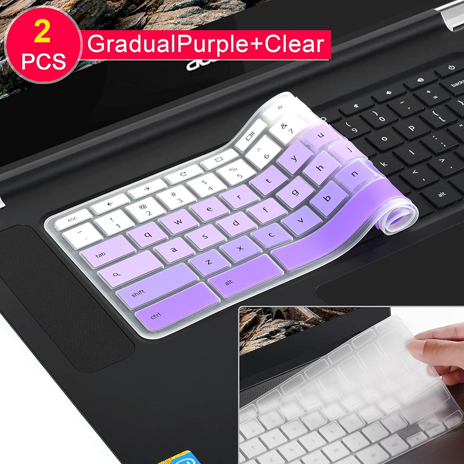 [2 Pack] Keyboard Cover Skin for Newest Acer Premium R11 Chromebook R 11 CB3-131 CB3-132,CB5-132T,CB3-131,Chromebook R 13 CB5-312T,Chromebook 15,CB3-531 CB3-532 CB5-571 C910 (Clear and Gradualpurple)