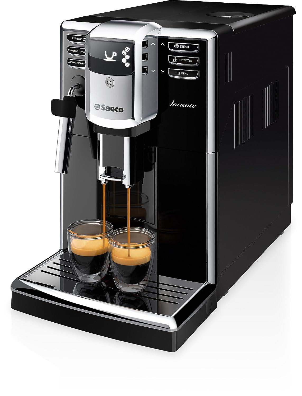 Saeco Incanto - Cafetera espresso súper automática, con espumador de leche clásico, color negro (importada)