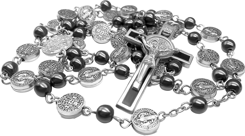 San Benito Rosario de Plata Collar Católico NR Medalla hecha a mano Jerusalén