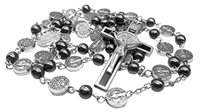 54a033adf7b Nazareth Store Black Rosary Hematite Beads Catholic Necklace St Benedict  Chaplet Patron Medal with Cross Religious