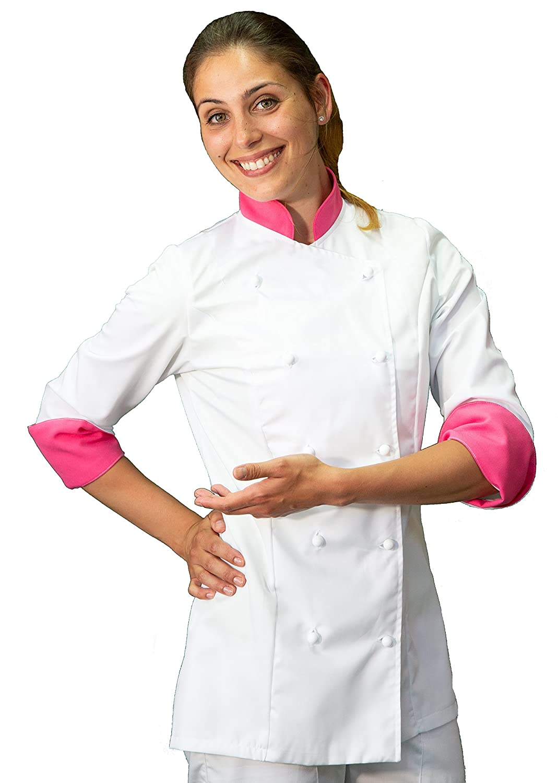 tessile astorino giacca, casacca cuoco chef, Donna, bianca e fuxia chiaro, Made in Italy