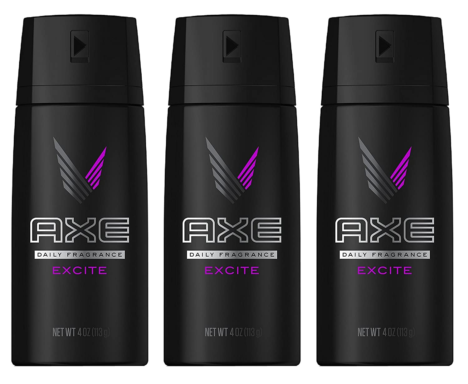 Axe Daily Fragrance/Body Spray - Excite - Net Wt. 4 OZ (113 g) Each - Pack of 3