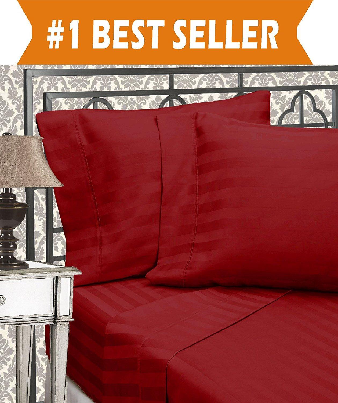 Elegant Comfort Best, Softest, Coziest 3-Piece Duvet Cover Sets! - 1500 Thread Count Egyptian Quality Luxurious Wrinkle Resistant 3-Piece DAMASK STRIPE Duvet Cover Set, Full/Queen, Burgundy