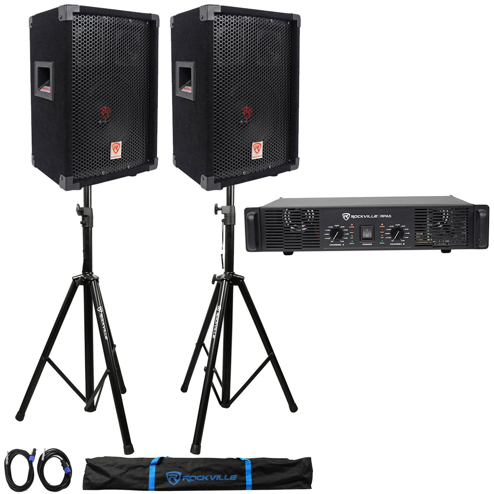 (2) Rockville RSG8 DJ PA Speaker + Rockville RPA5 Amp + Stands + Cables+ Case by Rockville