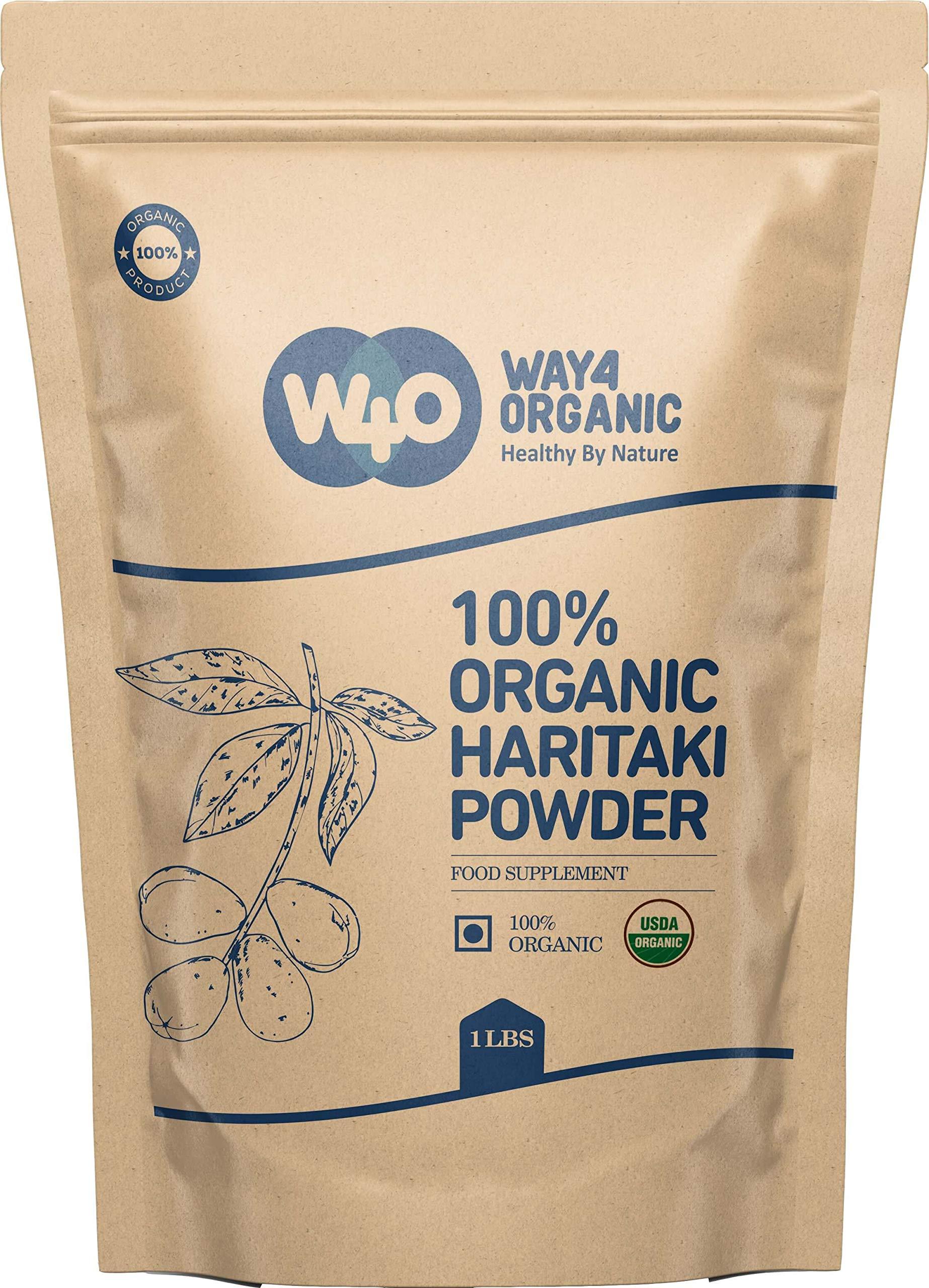 Organic Haritaki Powder 1lb (16 Ounces), Terminalia Chebula (Kadukkai) - Detoxification & Rejuvenation*, Good for Hair & to Reduce Dark Circles - Way4Organic