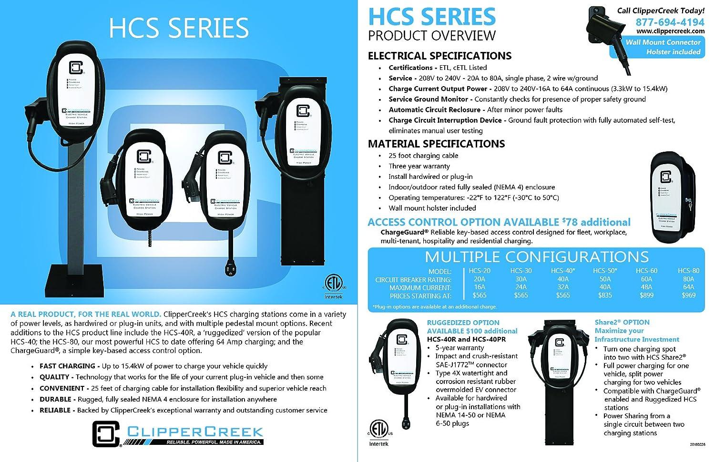 Amazon.com: ClipperCreek HCS-50P, Plug-in 240V, 40A, EV Charging ...