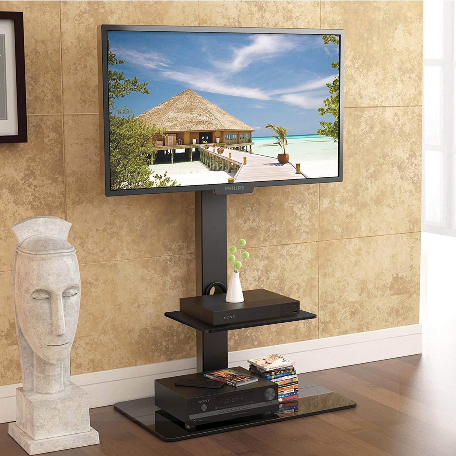 Amazon.com: FITÜEYES Fitueyes Floor tv stand with mount two shelves ...