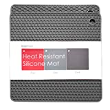 BasicForm Silicone Trivet Square Honeycomb Pattern 18.8x18.8x0.8cm (Set of 2) (Grey)