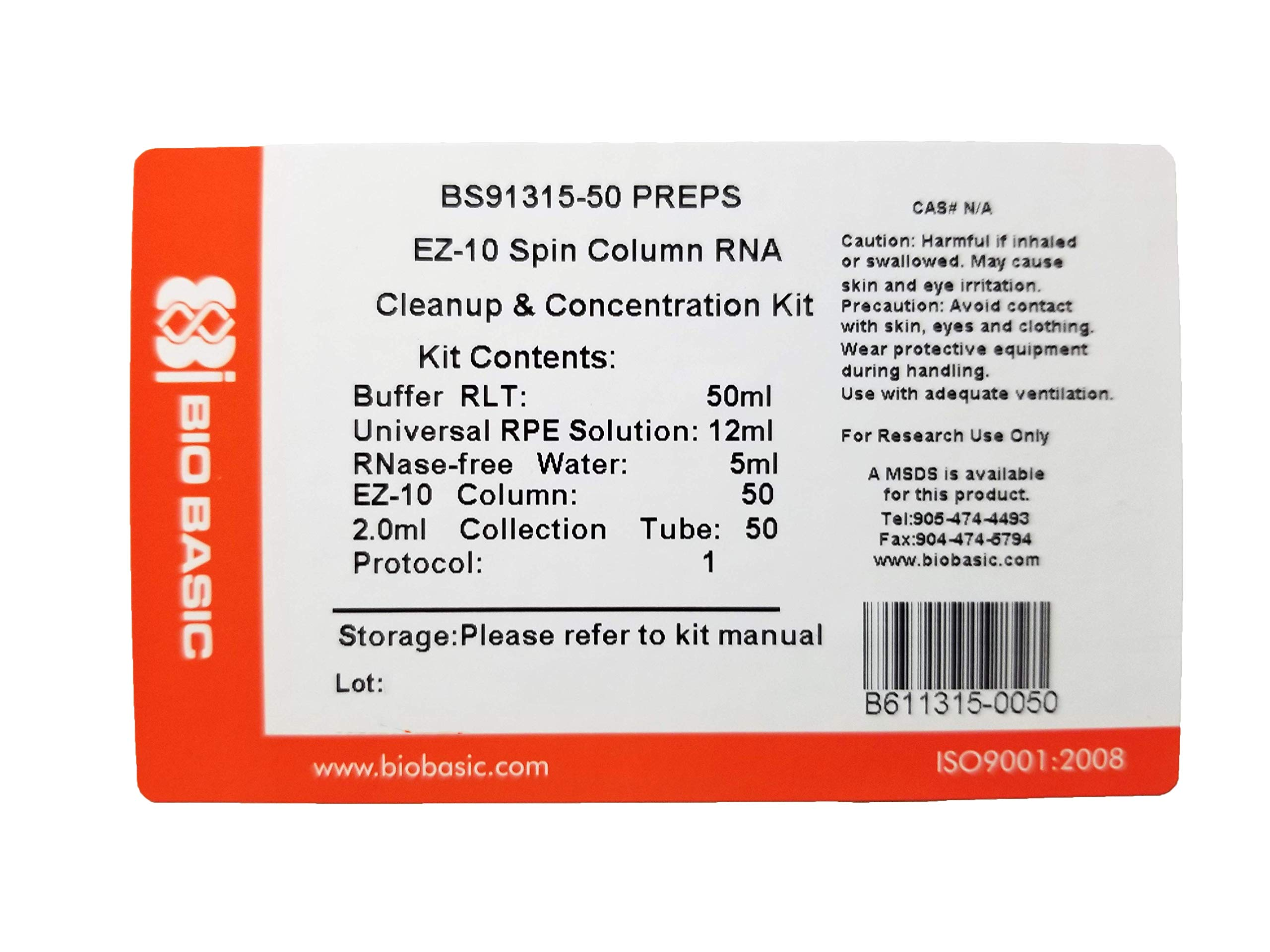 EZ-10 Spin Column RNA Cleanup and Concentration Kit, 50 Preparations