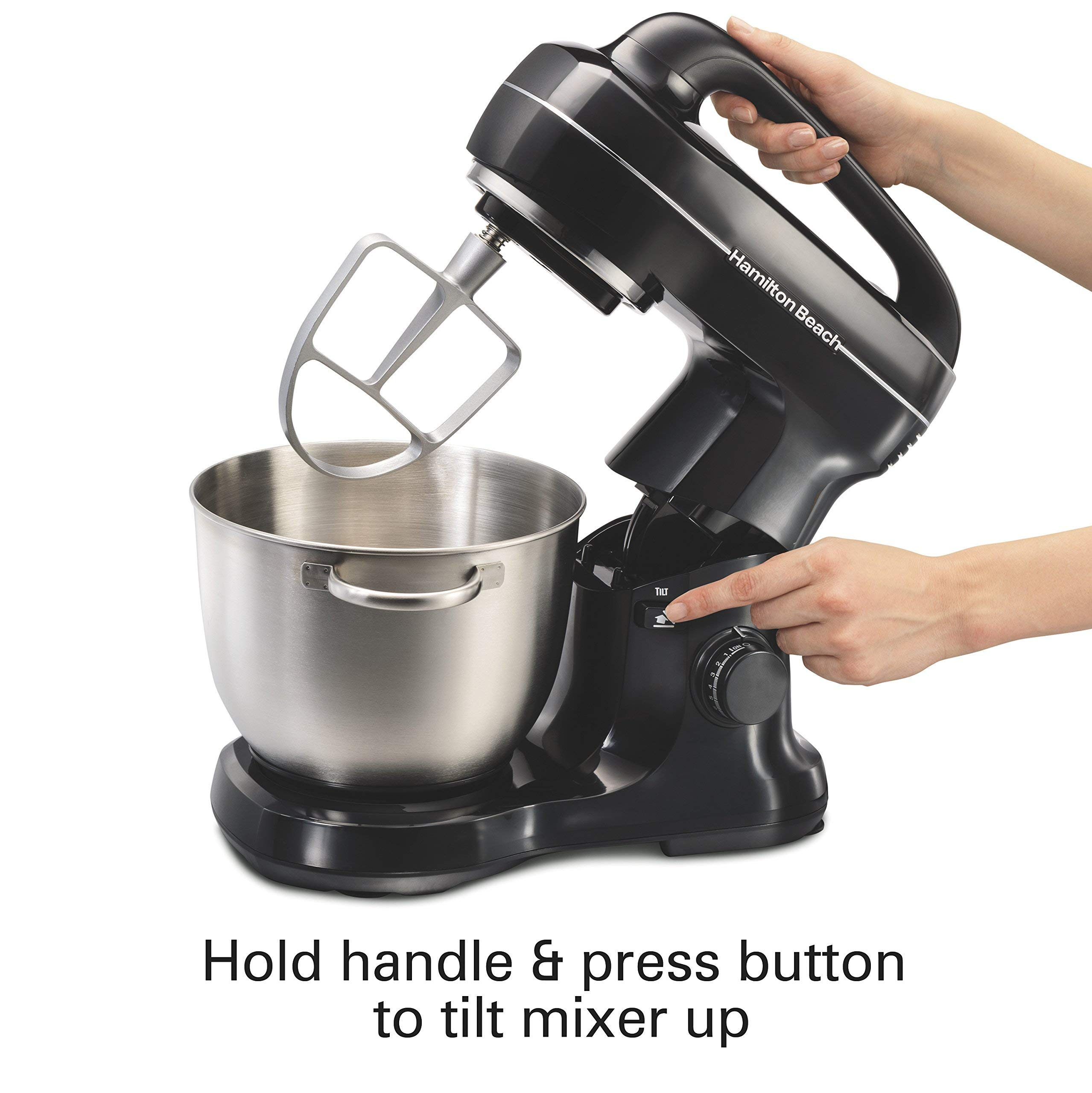 Hamilton Beach 63391 Stand Mixer, 7 Speeds with Whisk, Dough Hook, Flat Beater Attachments, 4 Quart, Black (Renewed) by Hamilton Beach (Image #4)