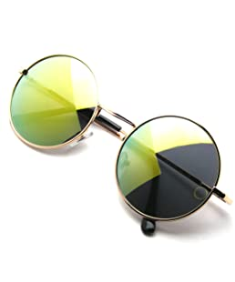 John Lennon Inspired Sunglasses Round Hippie Shades Retro Colored Lenses (Green Ice)