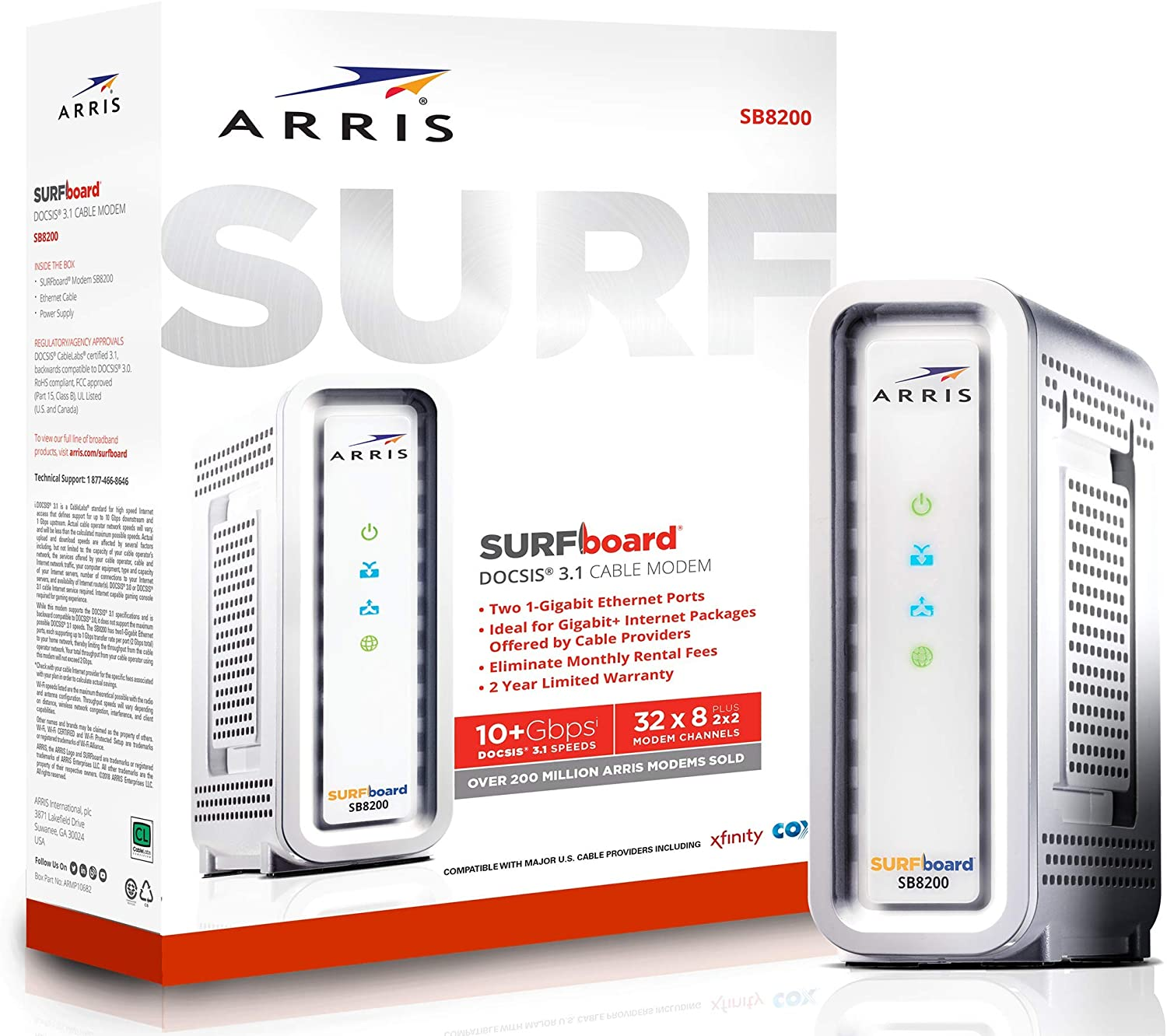ARRIS SURFboard SB8200 DOCSIS 3.1 Modem Router Combo Gigabit Cable Modem, Approved For Cox, Xfinity & Others