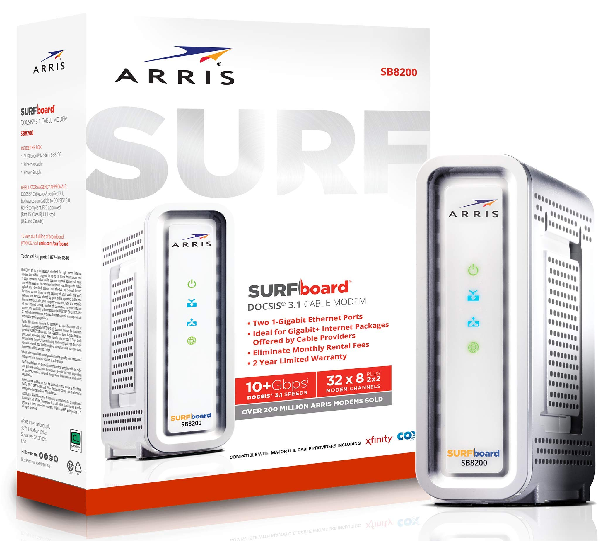 ARRIS SURFboard Docsis 3.1 Gigabit Speed Cable Modem, Approved for Cox, Spectrum and Xfinity, (SB8200 Frustration Free) by ARRIS