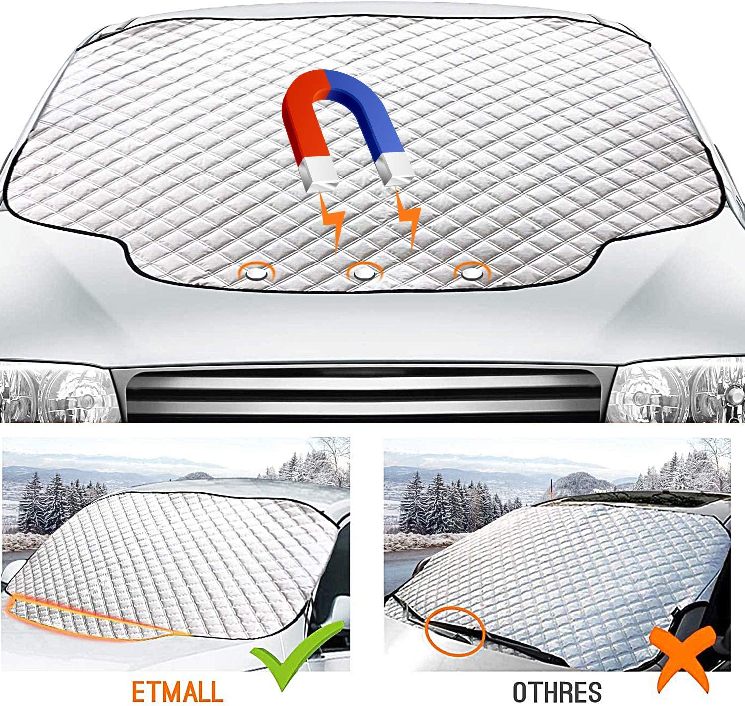 Used to resist snow frost and ultraviolet rays Fits Windshields of Various Sizes 61.8x 49.6 Magnetic Snow Cover with Fixing Strap Foldable Car Front Window Sunshades Rakaraka Car Windscreen ice