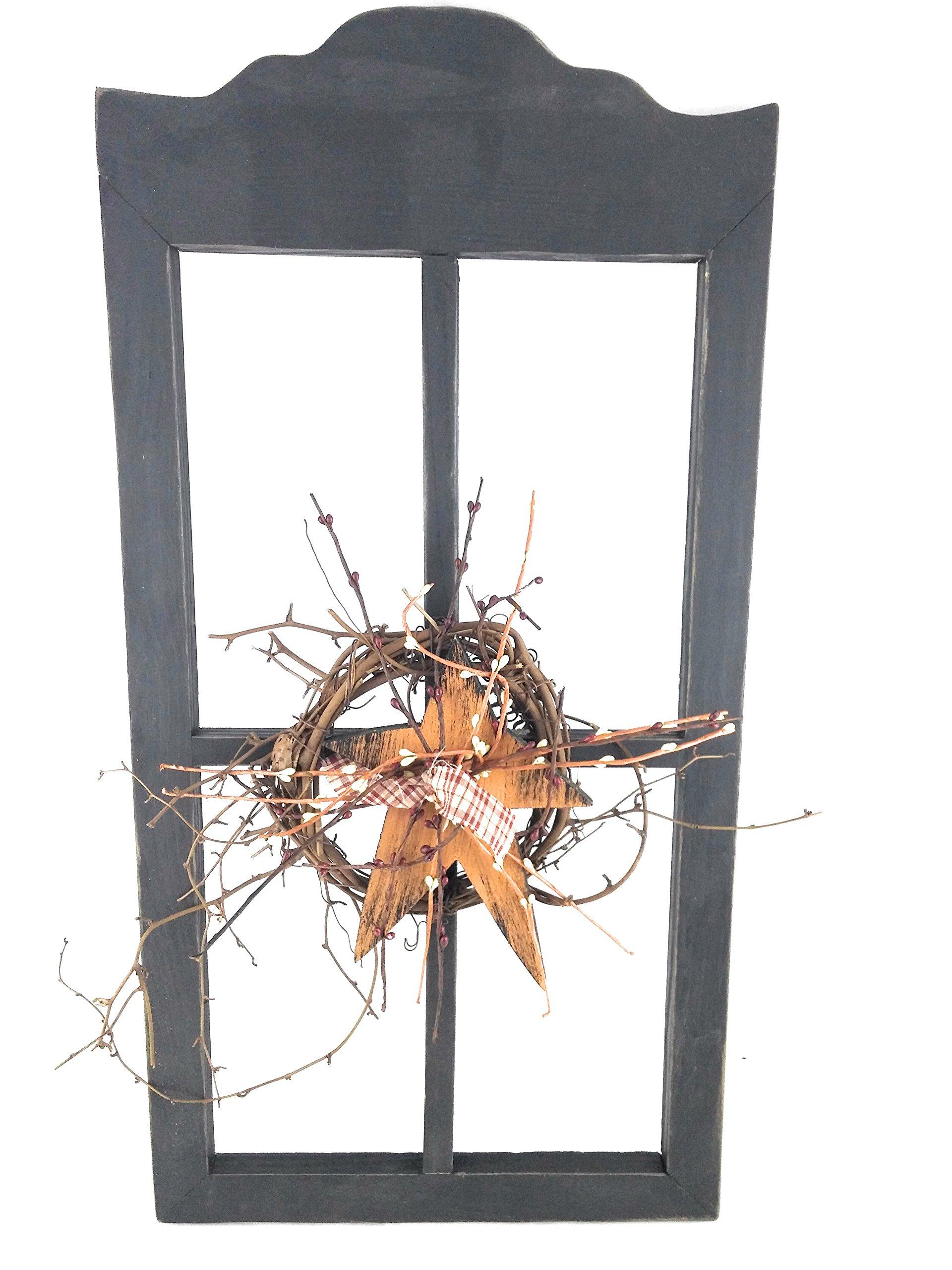 Prim Berry Black Wooden Window Decor