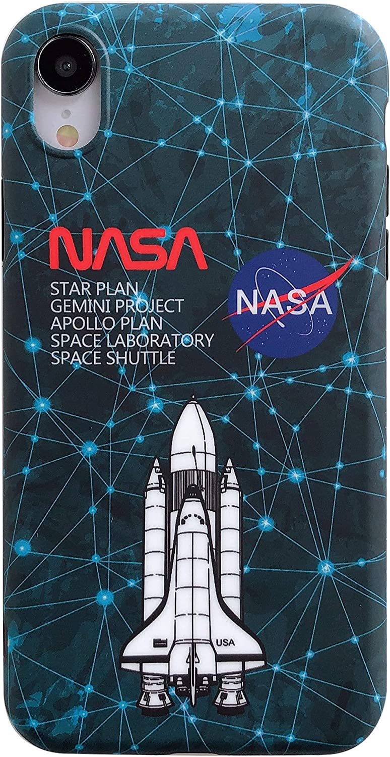 iPhone XR Space Exploration Soft Case,IMD Tech Sleek Texture Anti-Scratch TPU Ultra-Thin Shockproof Full-Protective Case for iPhone Xr 6.1inch (Space Rocket)