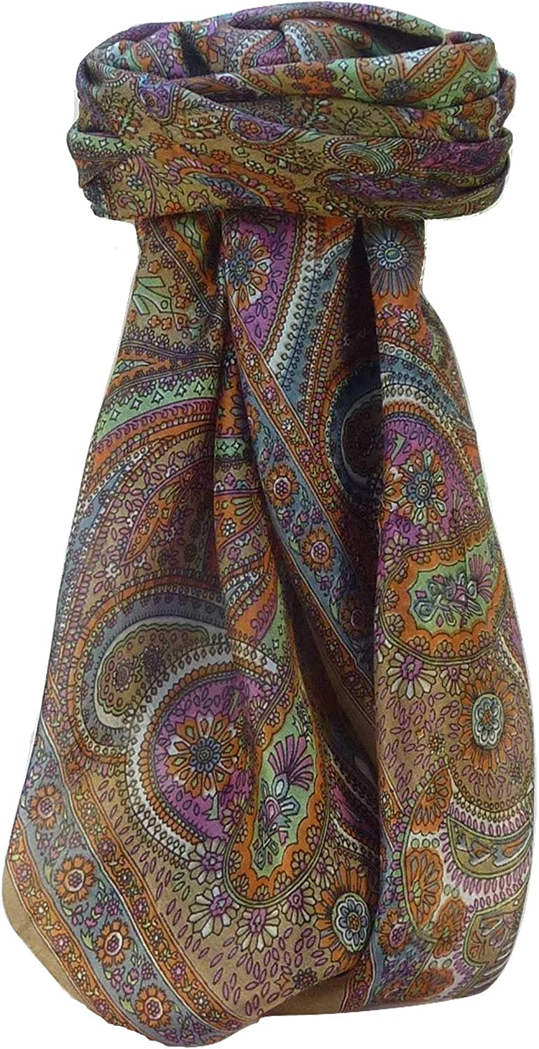 Mulberry Silk Traditional Square Scarf Zee Chestnut durch Pashmina & Silk