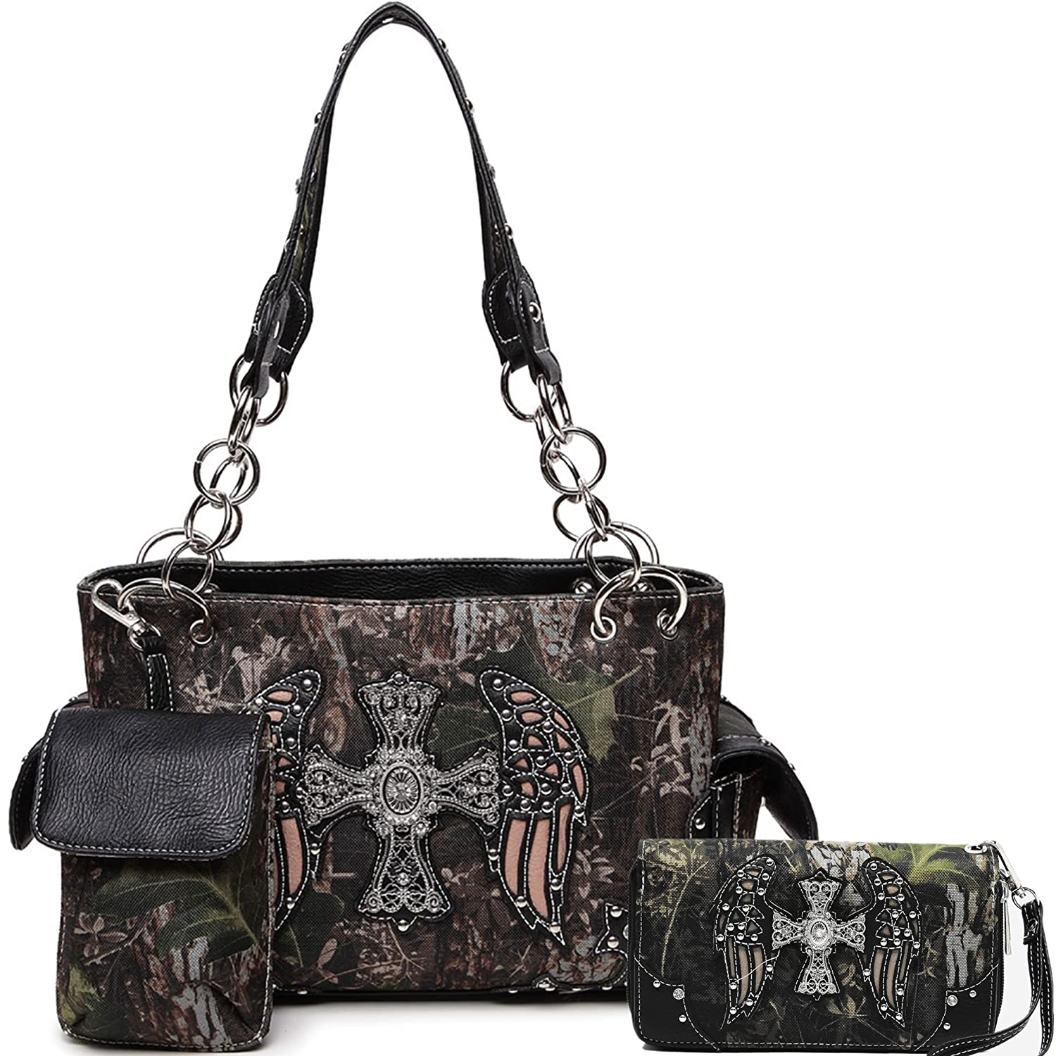 Cowgirl Trendy Western Concealed Carry Camouflage Cross Purse Handbag Shoulder Bag Wallet Set Black