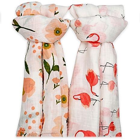 Muslin Swaddle Blanket Large 2Pack 120cm 100/% Cotton Baby Burp Cloth Pink Flower