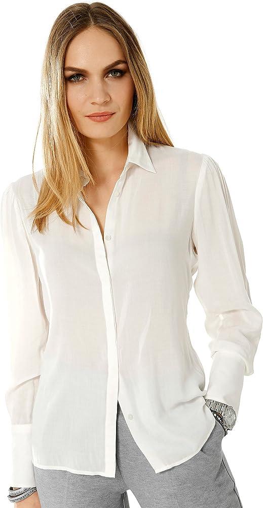 Alba Moda White - Camisas - para mujer blanco roto 48: Amazon.es: Ropa y accesorios
