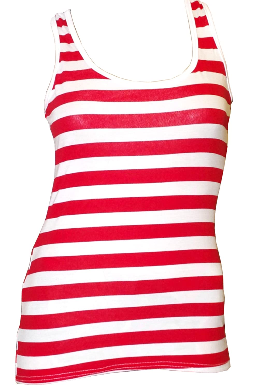 Girls Striped Vest Top with racer back - age 4 to 12 years Red & White)