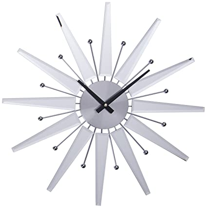 Amazoncom Telechron Mirrored Starburst Clock Silver Home Kitchen