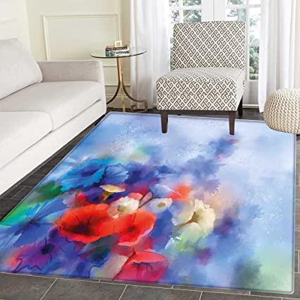 Amazon Com Flower Area Silky Smooth Rugs Hazy Paint Of Nature