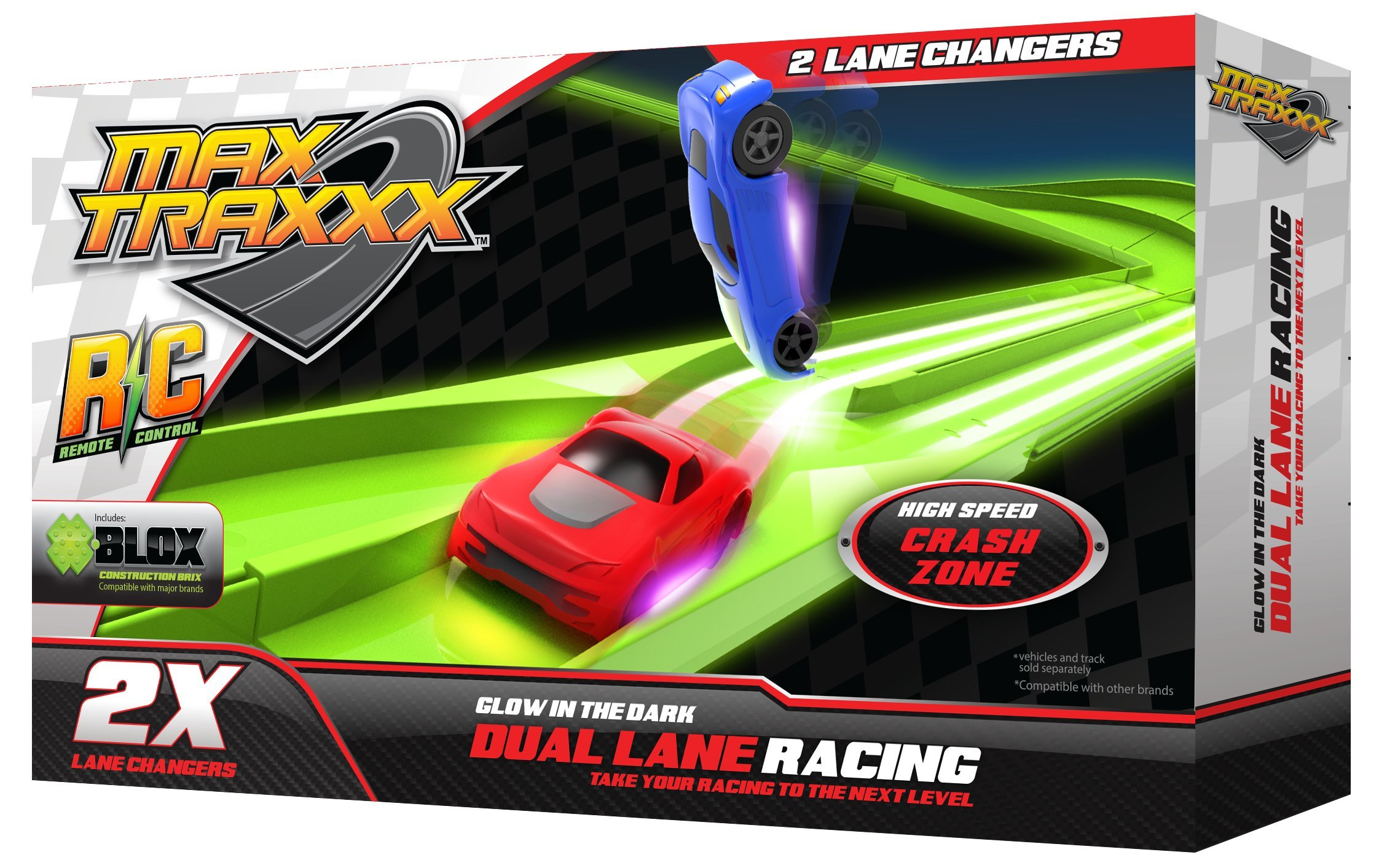 Max Traxxx Tracer Racers Dual Track Lane Changer Add On Module for Gravity Drive and Remote Control Sets