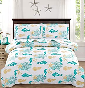 3-Piece Coastal Quilt Set Full/Queen,Tropical Fish Seahorses Seashells Starfish in Aqua Green Coral, Quilted Bedspread Coverlet Nautical Bedding Set Bedroom Decor for All Seasons (Green,Full/Queen)