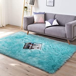 YJ.GWL Super Soft Faux Fur Area Rug (3'x5') for Bedroom Sofa Living Room Fluffy Bedside Rugs Home Decor,Blue Rectangle
