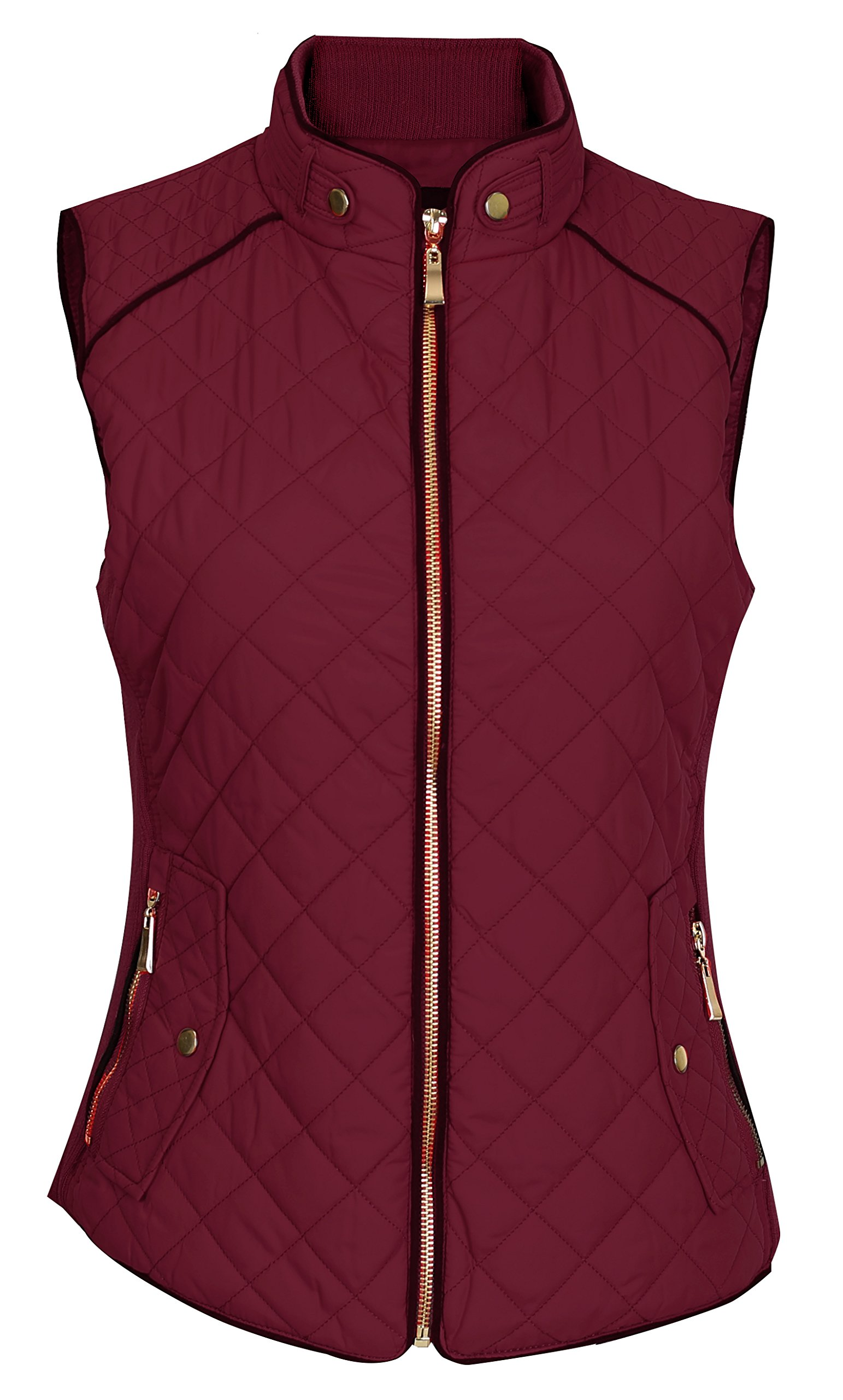 Pinmuse Women's Light Weight Zip up Front Quilted Padded Vest W Pockets Burgundy S